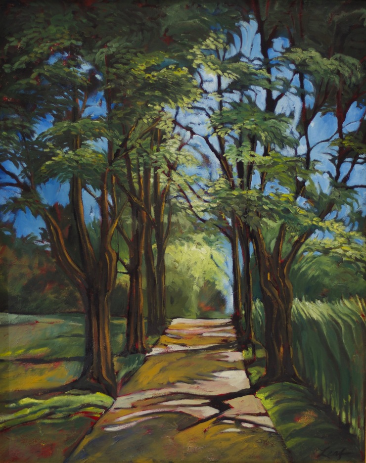 France, Provence, landscape, green, trees, leaves, light, shadows, oil painting, marycalengor