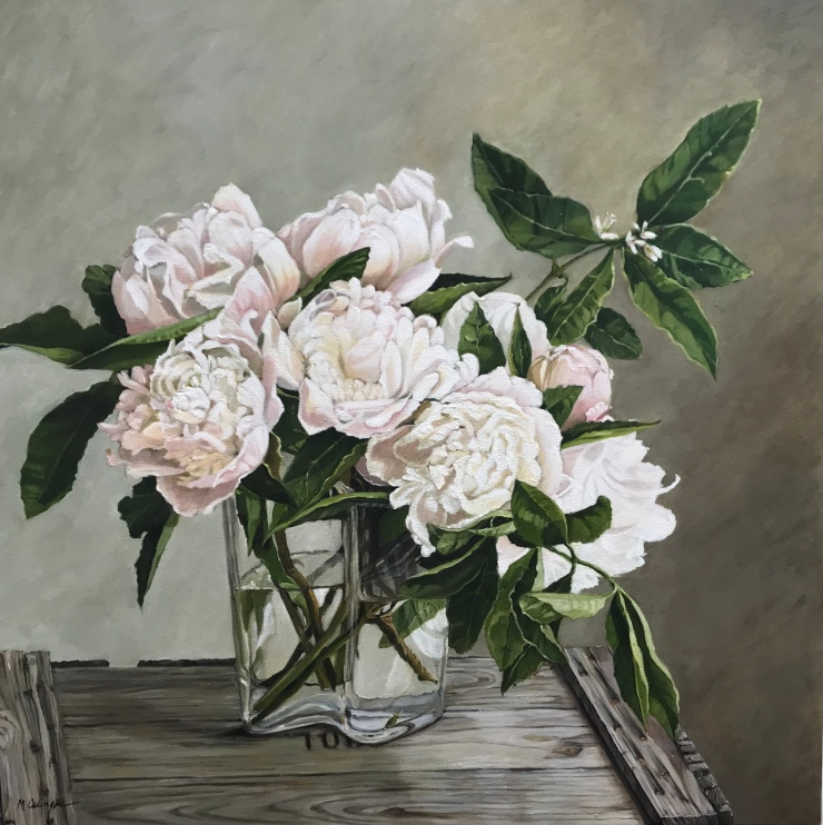 flowers, peonies, still life, oil painting, vase with flowers