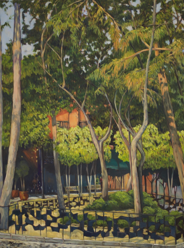oil painting, trees, Mexico, Plaza San Jacinto, San Angel, park, green, landscape
