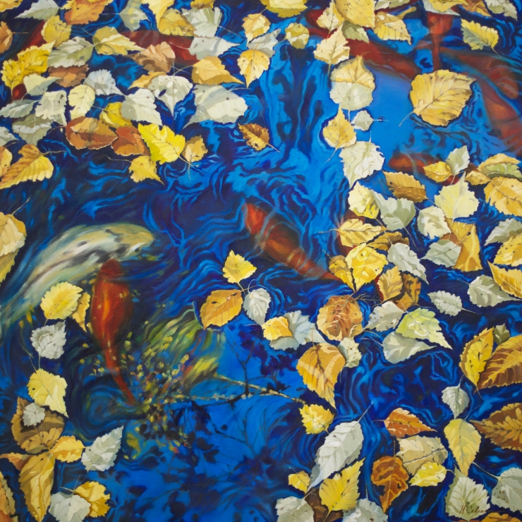 Koi Pond, oil painting, water, leaves, fish swimming