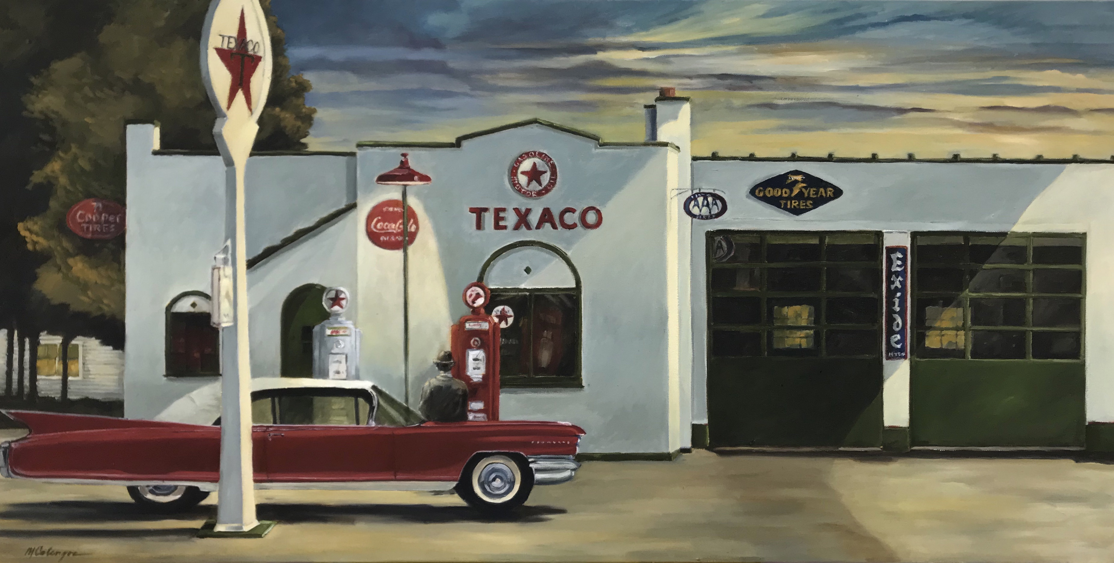 #fuelstation #gasstation #texaco #cadillac #antiqueauto #gaspump #landscape-painting #sunset #gas-oil