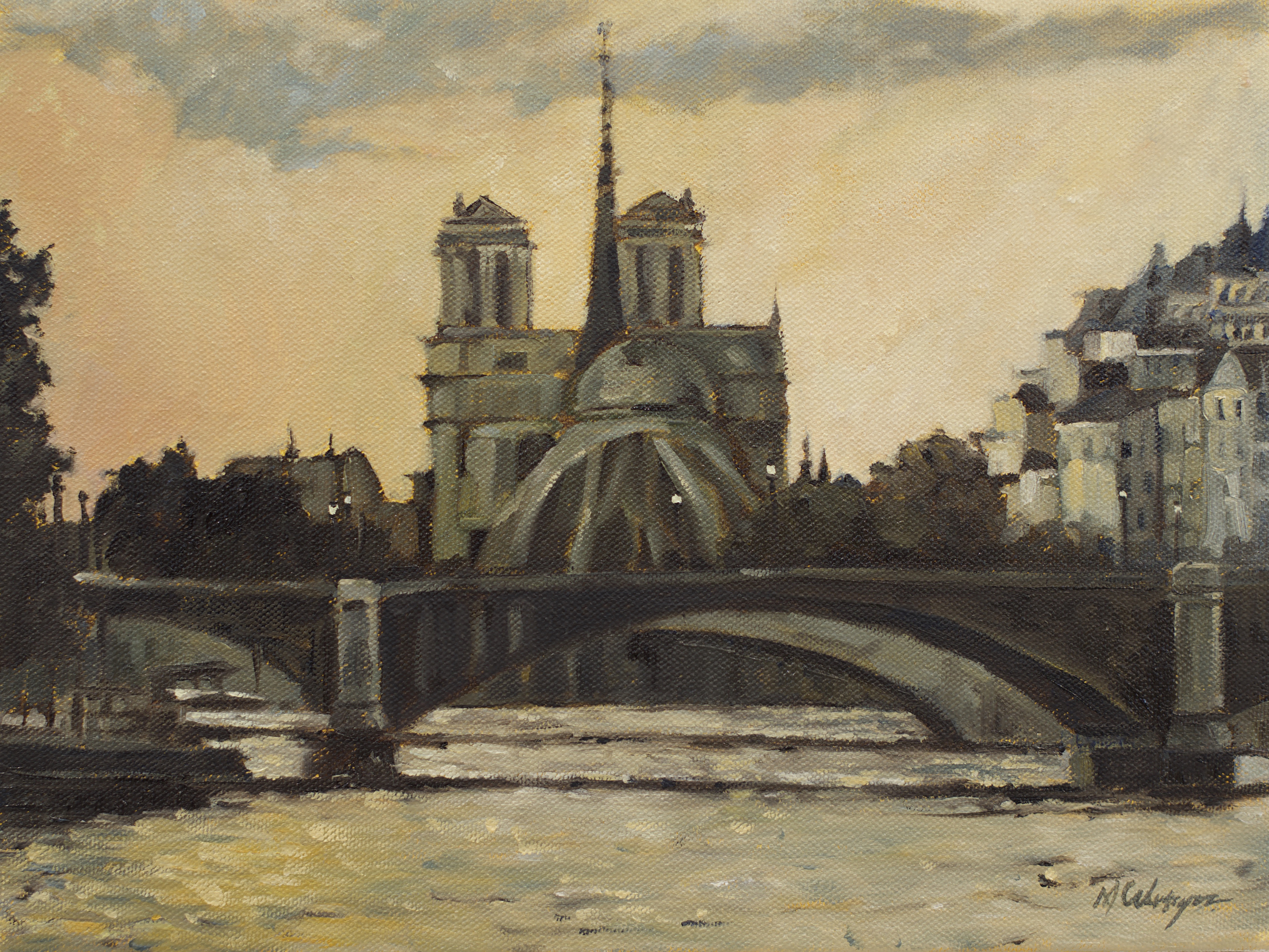 France, Seine River, Ile St. Louis, landscape painting, water, river art, bridge, Notre Dame, sunset, dusk, twilight, plein air, plein air painting