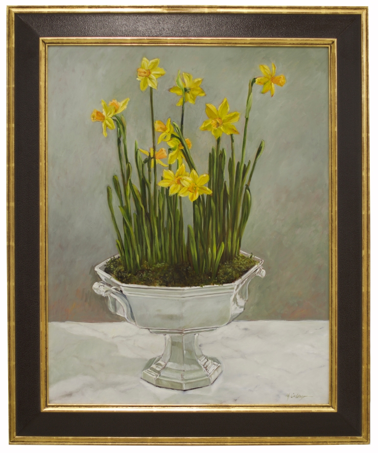 daffodils, oil painting, flowers, still life, yellow, green