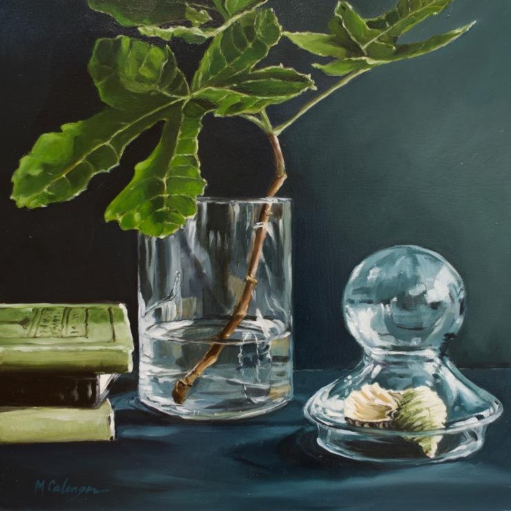 Still life, oil painting, wood panel